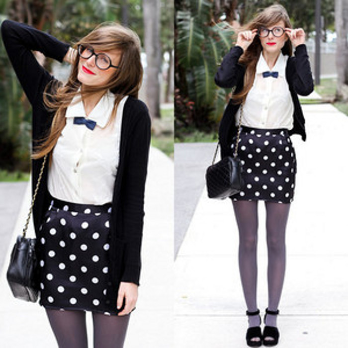 black-and-white-polka-dot-skirt-white-shirt-black-cardigan-and-shoes-and-grey-tights-outfit