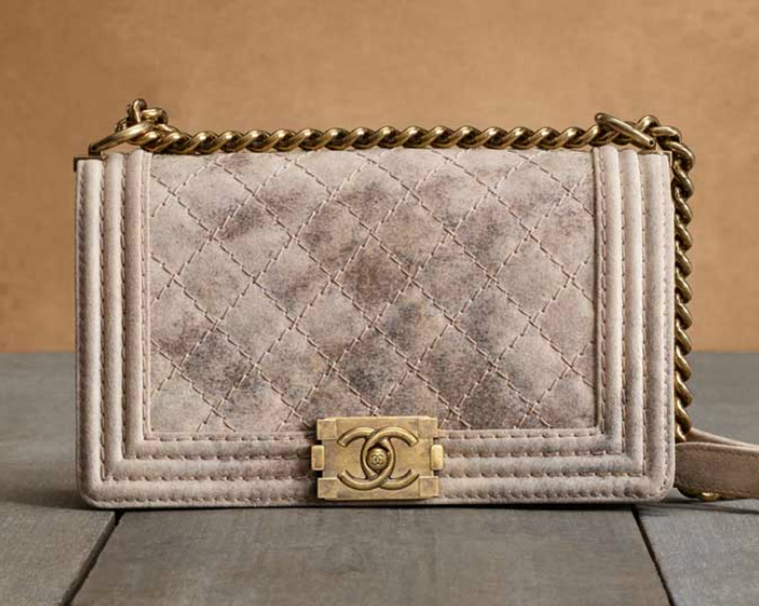 Chanel-BeigeGold-Metallic-Suede-Boy-Chanel-Quilted-Bag