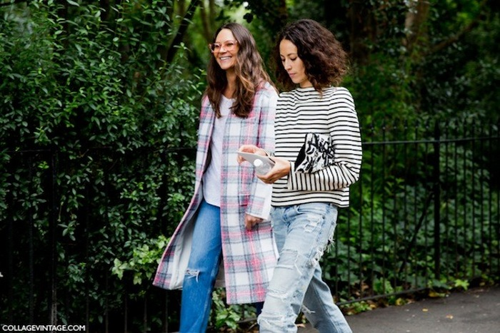LFW-London_Fashion_Week_Spring_Summer_2014-Street_Style-Say_Cheese-Collage_Vintage-Plaid-Coat-Stripes-Boyfriend-