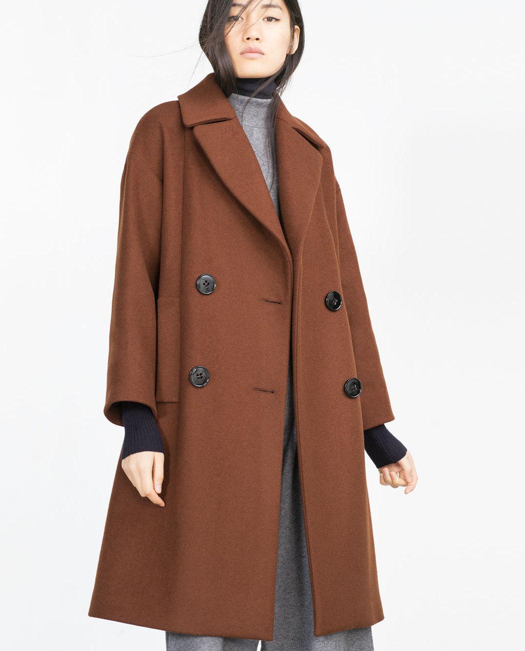 abrigo teja zara manga raglán